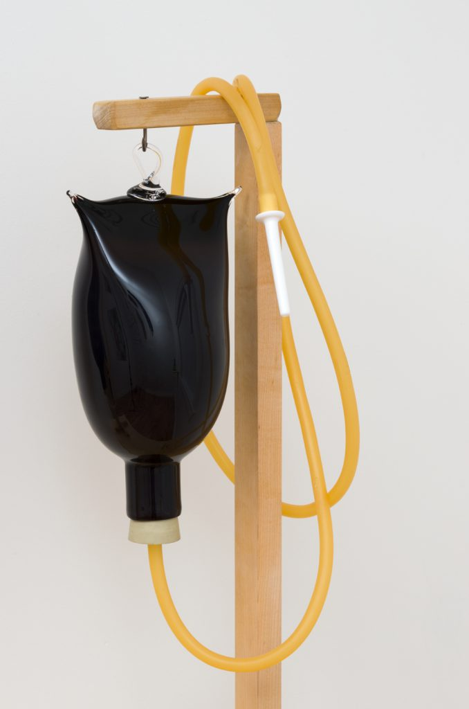 laub and Jennifer Moon, Enema bags from GFT (Gut Fairies Transplant), Phoenix Rising, Part 3: laub, me, and The Revolution (The Theory of Everything), 2015. Mouth blown glass, wood, vinyl tubing. 23 x 12 x 8.5 inches each. Courtesy Commonwealth & Council, Los Angeles. Photo: Jeff McLane.