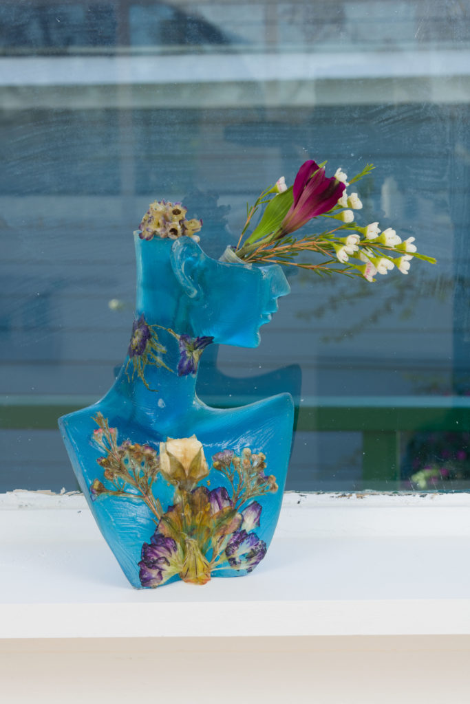 Genevieve Belleveau, Bloom & Bust II, 2018. Frosted acrylic, latex, flowers, plastic. 8.5 x 5.5 x 2.25 inches. Courtesy the artist and Garden, Los Angeles. Photo: Jeff McLane.