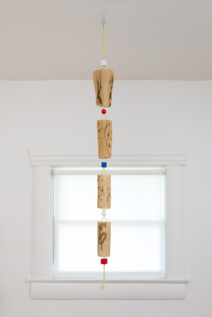 Spencer Longo, LEXI (Redux 2), 2014/2017. Loofah, nylon cord, wood beads, enamel paint and hardware. 55 x 4.5 x 5 inches. Photo: Jeff McLane.