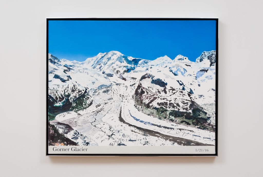 Rob Reynolds, Most Painted Mountain (Gorner Glacier), 2016. Oil, alkyd, and acrylic paint on canvas in welded aluminum artist's frame. 24.75 x 30.75 x 2 inches. Photo: Jeff McLane.